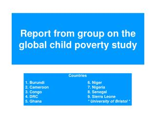 Report from group on the global child poverty study