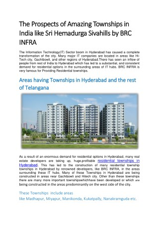 Enormous Demand For Residential Options In Hyderabad