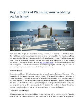 Key Benefits of Planning Your Wedding on An Island