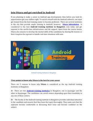 Join Uttara and get enriched in Android !!