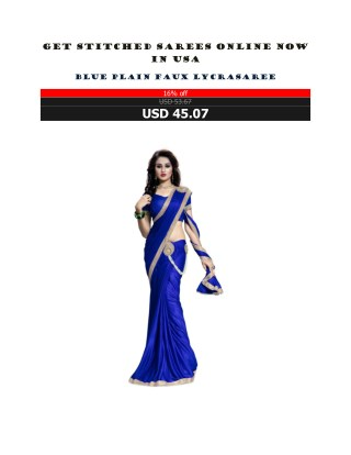 Get Stitched Sarees Online Now In USA