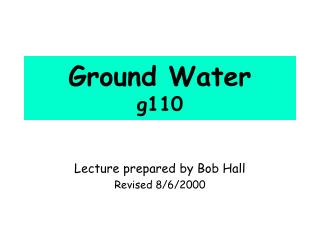 Ground Water g110
