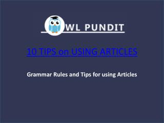 Tips on Using Articles