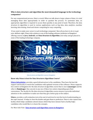 Data structure and Algorithm course in Bangalore