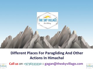 Different Places For Paragliding And Other Actions In Himachal