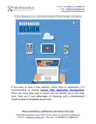 4 Key Reasons For Choosing Custom Web Design Company
