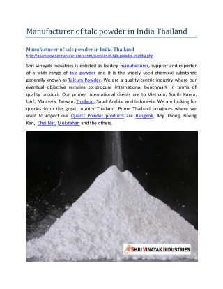 Manufacturer of talc powder in India Thailand