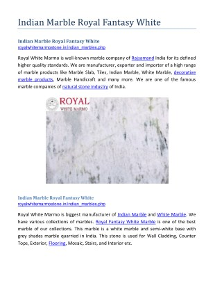 Indian Marble Royal Fantasy White