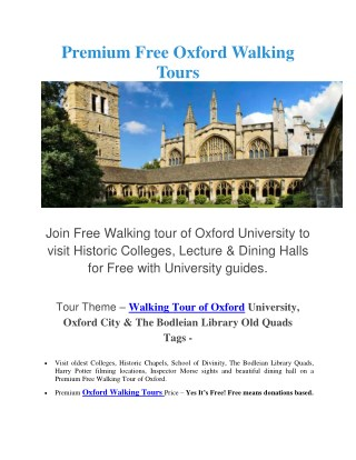 Premium Free Oxford Walking Tours
