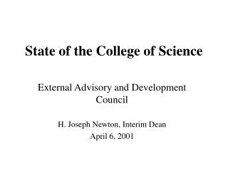 State of the College of Science