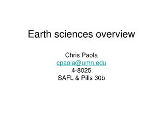 Earth sciences overview