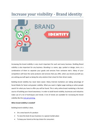 Increase your visibility - Brand identity