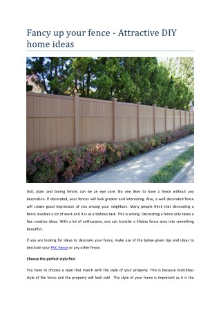 Fancy up your fence - Attractive DIY home ideas