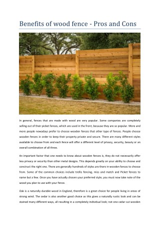 Benefits of wood fence - Pros and Cons