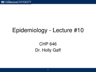 Epidemiology - Lecture #10