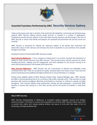 Security Services Sydney & Melbourne