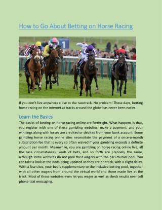 How to Go About Betting on Horse Racing