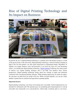 Rise of Digital Printing Technology and Its Impact on Business