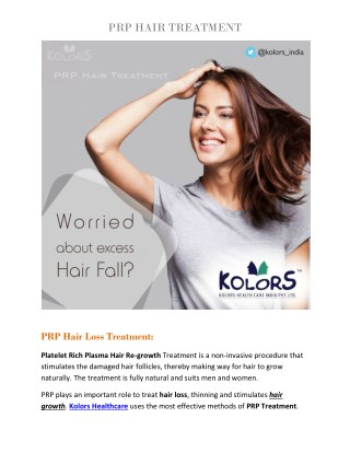 PRP treatment for hair loss | PRP therapy for hair loss | PRP hair treatment cost