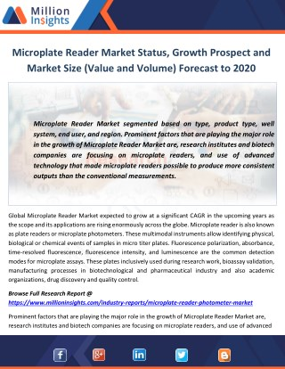 Microplate Reader Market Status, Growth Prospect and Market Size (Value and Volume) Forecast to 2020