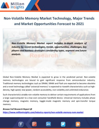Non-Volatile Memory Market Technology, Major Trends and Market Opportunities Forecast to 2021