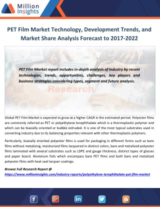 PET Film Market Technology, Development Trends, and Market Share Analysis Forecast to 2017-2022