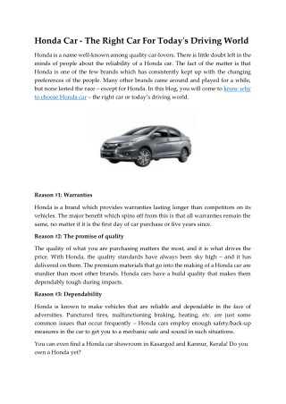 Honda Car - The Right Car For Today's Driving World