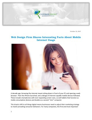 Web Design Firm Shares Interesting Facts About Mobile Internet Usage