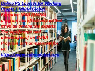 Online PG Courses for Working People Executive MBA (EMBA)
