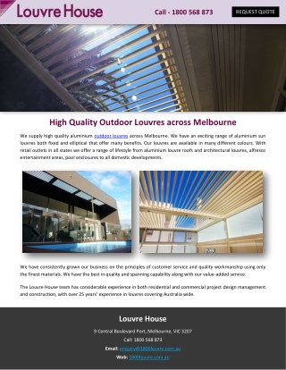 High Quality Outdoor Louvres across Melbourne