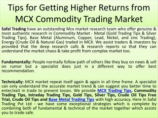 Tips for Getting Higher Returns from MCX Commodity Trading Market