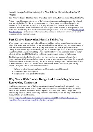 Kitchen Remodeling Fairfax VA Project