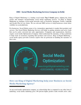 SMO - Social Media Marketing Services Company in Delhi