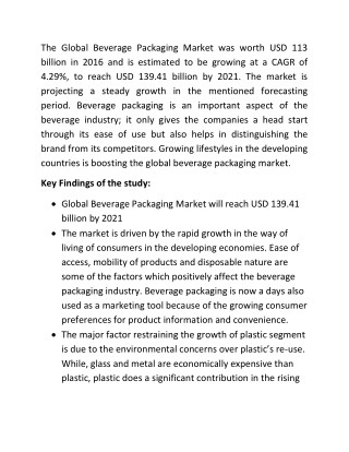 Beverage Packaging Market Size to Reach USD 139.41 billion by 2021