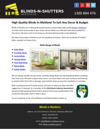 High Quality Blinds In Maitland To Suit Any Decor & Budget