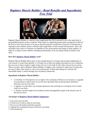 Rapiture Muscle Builder : Read Benefits and Ingredients| Free Trial