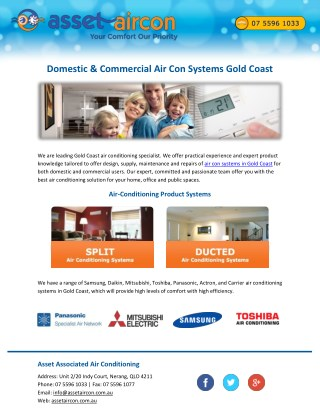 Domestic & Commercial Air Con Systems Gold Coast
