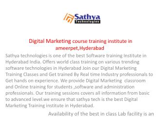 Digital Marketing training institute in Ameerpet Hyderabad