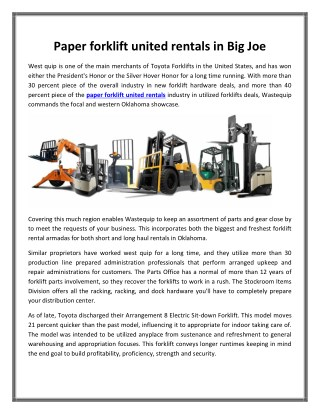 Paper forklift united rentals in Big Joe