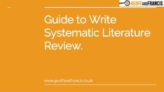 Find Best Tips to Write Systematic Literature Review