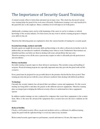 The Importance of Security Guard Training