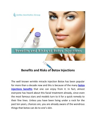 Benefits and Risks of Botox Injections