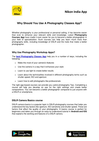 Why Should You Use A Photography Classes App?