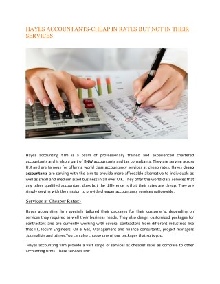 HAYES ACCOUNTANTS-CHEAP IN RATES BUT NOT IN THEIR SERVICES