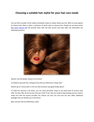 Choosing a suitable hair stylist for your hair care needs