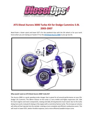 ATS Diesel Aurora 3000 Turbo Kit for Dodge Cummins 5.9L 2003-2007
