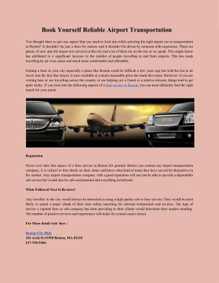Book Yourself Reliable Airport Transportation