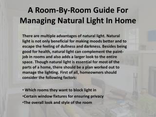 A Room-By-Room Guide For Managing Natural Light In Home