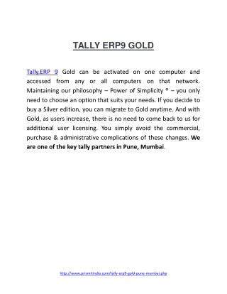 PDF on best Tally Accounting Software|Tally.ERP9 Gold