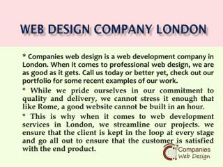 Web Design Services London - companies web design
